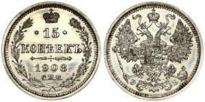 Russia 15 Kopecks 1908 СПБ-ЭБ St. Petersburg. Nicholas II (1894-1917). Obverse: Crowned double...