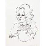 Jerzy Flisak (1930 Warszawa - 2008 tamże), Karykatura Marleny Ditrich