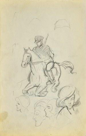 Stanisław ŻURAWSKI (1889-1976), Mężczyzna na koniu i szkice głów