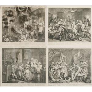 William HOGARTH (1697-1764), Zestaw 8 grafik, z cyklu: A Rake's progress