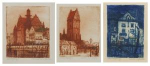 Feliks JABŁCZYŃSKI (1865-1928), Zestaw 3 grafik z motywami Gdańska