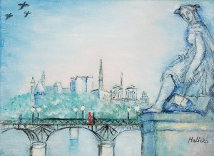 Alicja HALICKA (1894-1975), Paryż - Most Passarelle des Artes i katedra Notre Dame, l. 30 XX w.