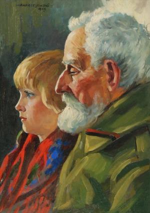 Szczepan ANDRZEJEWSKI (1892-1950), Weteran z wnuczką, 1929