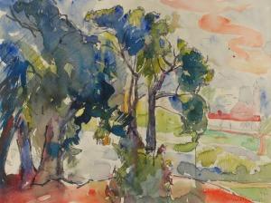 Roman BILIŃSKI (1897-1981), Pejzaż z drzewami, 1966