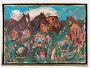 Roman BILIŃSKI (1897-1981), Konie i chłop [Cavalli con music], 1973