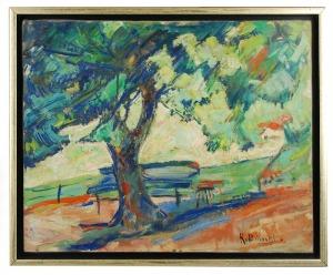 Roman BILIŃSKI (1897-1981), Ławka w ogrodzie [Panchina nel giardino], 1964
