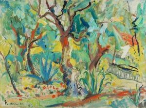 Roman BILIŃSKI (1897-1981), Ogród z drzewami oliwnymi [Giardino con ulivi], 1962