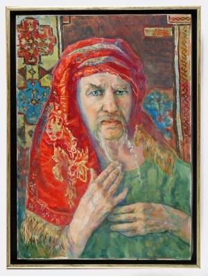 Roman BILIŃSKI (1897-1981), Autoportret z czerwonym szalem [Ritratto rosso], 1976