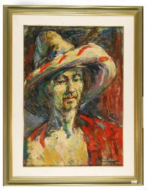 Roman BILIŃSKI (1897-1981), Autoportret w meksykańskim kapeluszu [Autoritratto Messicano], 1956