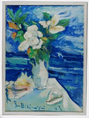 Roman BILIŃSKI (1897-1981), Martwa natura z białymi kwiatami i muszlami [Fiori bianchi con conchiglie], 1963