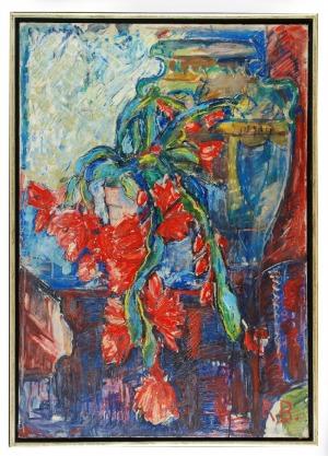 Roman BILIŃSKI (1897-1981), Czerwone kwiaty i waza [Cascata di fiori], 1961