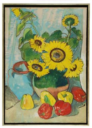 Roman BILIŃSKI (1897-1981), Martwa natura ze słonecznikami i paprykami [Girasoli con paprika], 1974