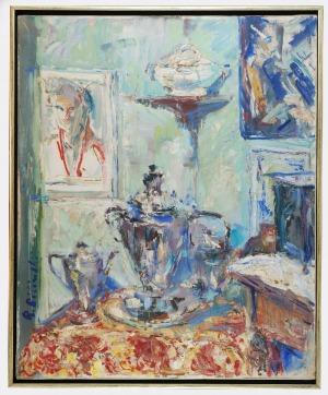 Roman BILIŃSKI (1897-1981), Martwa natura z samowarem [Samovar con caminetto], 1963