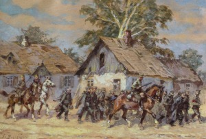 Stanisław BAGIEŃSKI, POLSCY KAWALERZYŚCI ESKORTUJĄCY KOLUMNĘ NIEMIECKICH JEŃCÓW, 1945