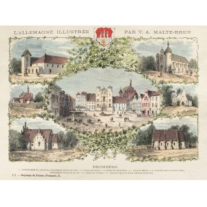 BYDGOSZCZ, Widoki kościołów i innych budowli miejskich w 7 sekcjach, ryt. Navellier i Marie, rys. Hubert Cle ...
