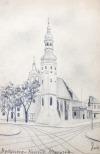 BYDGOSZCZ, Zestaw 4 rys. ołówkiem autorstwa M. Paszyńskiego: 1) Bydgoszcz – Kościół Klarysek; 2) Bydgos ...