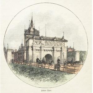GDAŃSK, Brama Wysoka (Wyżynna), według fot. z gdańskiego atelier L. Sauniera, pochodzi z: Illustrirte Zei ...