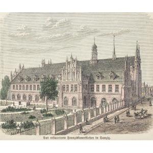 GDAŃSK, Dawny klasztor pofranciszkański – południowa fasada, sygn. ryt. nieczyt.; drzew. szt. kolor., po ...