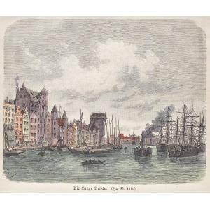 GDAŃSK, Długie Pobrzeże (dawniej Długi Most) z Żurawiem, sygn. B. St., ok. 1890; drzew. szt. kolor., pod ...