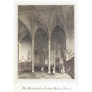 GDAŃSK, Giełda w Dworze Artusa, anonim, pochodzi z: Borussia, Museum für Preussische Vaterlandskunde, Drez ...