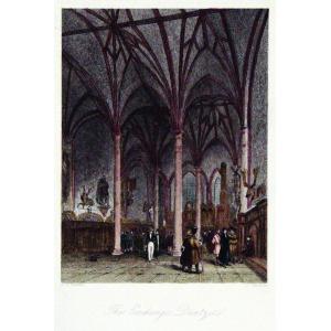 GDAŃSK, Giełda w Dworze Artusa, ryt. D. Buckle, rys. A.G. Vickers, Londyn, ok. 1840; stal. kolor., st. bdb. ...