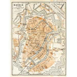 GDAŃSK, Plan Gdańska w 1887 r.; na verso cz.-b. mapka okolic miasta; pochodzi z: Baedeker, Karl, Mittel- un ...