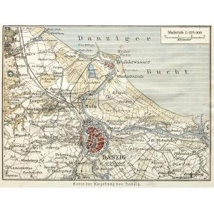 GDAŃSK, Schematyczny plan miasta i okolic z ujściem Wisły, anonim, ok. 1890; podziałka 1: 125 000; drzew. ...