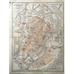 GDAŃSK, Plan Gdańska w 1892 r., pochodzi z: Baedeker, Karl, Mittel- und Nord-Deutschland, wyd. Geographisch ...