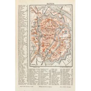 GDAŃSK, Plan miasta ok. 1900 r., pochodzi z: Meyers Konversations-Lexikon, Bibliogr. Institut, Lipsk 1885-18 ...