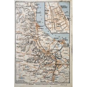 GDAŃSK, Schematyczny plan Gdańska w 1914 r. z mapą najbliższej okolicy (Sopot, Oliwa, Twierdza Wisłoujś ...