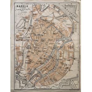 GDAŃSK, Plan Gdańska w 1914 r., pochodzi z: Baedeker, Karl, Mittel- und Nord-Deutschland, wyd. Geographisch ...