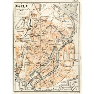 GDAŃSK, Plan Gdańska w 1922 r., pochodzi z: Baedeker, Karl, Mittel- und Nord-Deutschland, wyd. Geographisch ...