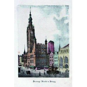 GDAŃSK, Ratusz i fragment Długiego Targu, anonim, ok. 1830; lit. kolor., podklejony sztywnym papierem, st.  ...