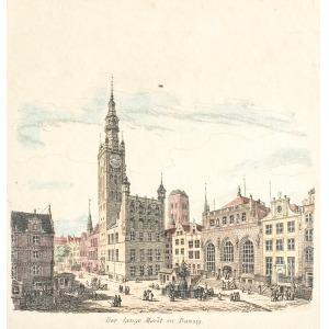 GDAŃSK, Ratusz Głównego Miasta i fragment Długiego Targu, anonim, ok. 1850; stal. kolor., podklejony szty ...
