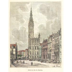 GDAŃSK, Ratusz Głównego Miasta, rys. Hubert Clerget, pochodzi z: Malte-Brun, Victor Adolphe, L'Allemagne ...