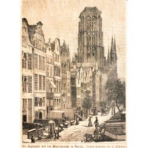GDAŃSK, Ulica Piwna i Bazylika Mariacka, rys. H. Schwan, ok. 1880; drzew. szt. cz.-b. (papier barwiony), pod ...