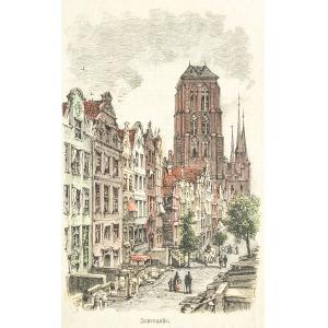 GDAŃSK, Ulica Piwna i Bazylika Mariacka, według fot. z gdańskiego atelier L. Sauniera, pochodzi z: Illustr ...