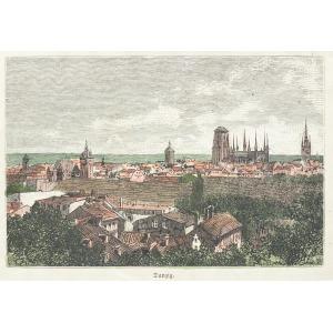 GDAŃSK, Widok miasta, anonim, ok. 1880; drzew. szt. kolor., podklejony sztywnym papierem, st. bdb.; wymiary  ...