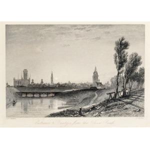 GDAŃSK, Widok miasta od północnego-zachodu, ryt. H. Wallis, rys. Alfred Vickers, 1837; stal. cz.-b., st. b ...