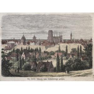 GDAŃSK, Widok miasta z Biskupiej Górki, anonim, ok. 1880; drzew. szt. kolor., podklejony sztywnym papierem, ...