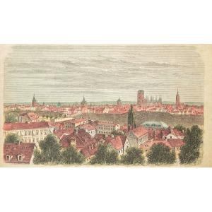 GDAŃSK, Widok miasta z Biskupiej Górki, anonim, ok. 1890; drzew. szt. kolor., podklejony sztywnym papierem, ...