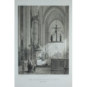 GDAŃSK, Wnętrze Bazyliki Mariackiej, rys. i lit. Julius Greth, odbili bracia Delius w Berlinie, pochodzi z  ...