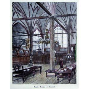 GDAŃSK, Wnętrze Dworu Artusa, ryt. Adolf Closs, ok. 1880; drzew. szt. kolor., podklejony sztywnym papierem, ...