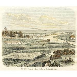GDAŃSK-NOWY PORT, Widok ogólny Nowego Portu, anonim, ok. 1880; drzew. szt. kolor., st. bdb., passe-partout; wymiary w ...