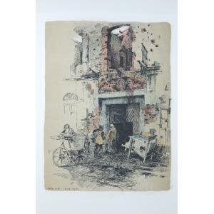 GORLICE, Fragment miasta, pochodzi z: Kasimir, Luigi, Galizien 1915. Ein Kunstlertagebuch; wyd. Hugo Heller & ...