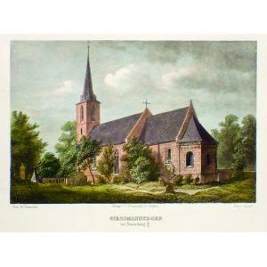 GOŚCISZÓW, Kościół, ryt. Kaspar Ulrich Huber, rys. R. Drescher, publikowane w: Schroller, Franz, Schlesien.  ...