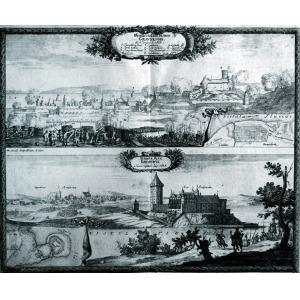 GRUDZIĄDZ, KRUSZWICA, Panoramy miast na wspólnym arkuszu – u góry oblężenie Grudziądza (4 I 1656); u dołu panorama ...