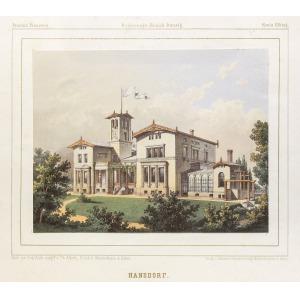 JANÓW, Widok na pałac, rys. Th. Albert, lit. w zakładzie Winckelmann & Söhne, pochodzi z: Duncker, Alexa ...
