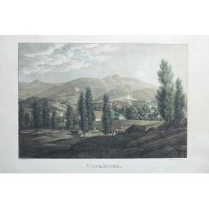 JELENIA GÓRA-CIEPLICE, Panorama miasta, lit. Th. Sachse według obrazu C.F. Moscha, Jelenia Góra, ok. 1840; lit. kolor., s ...