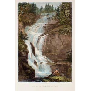 KARKONOSZE, Wodospad Kamieńczyka, ryt. I.J. Hinchliff, rys. Adrian Ludwig Richter, druk. Zehl, pochodzi z: Herl ...